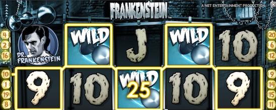 Frankenstein en videoslot med spridande wilds och chans till free spins